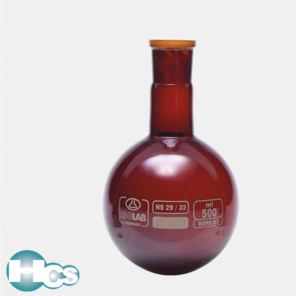 Isolab ground neck flask with round bottom,amber glass