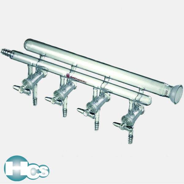 Synthware Double Manifold with hollow glass stopcocks and right hand side spherical joint